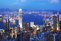 Thousands of skyscraper on two side of Victoria Harbour of Hong Kong. View from the Peak at night.