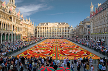 Central square in Brussels (Grande place), with flower carpet, Anno 2006. A total of 700.000 begonia flowers, used for an impressive 300 m2 carpet. Theme for 2006 was a calaidoscope pattern.
