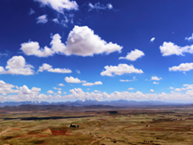Bolivia landscape outside La Paz with beautiful sky and snowed mountains
