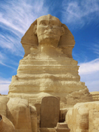 The great Sphinx up close in Egypt on a sunny day.
